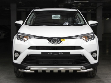 Защита переднего бампера d-53 с доп.накладками Toyota Rav-4 2015-наст.вр.